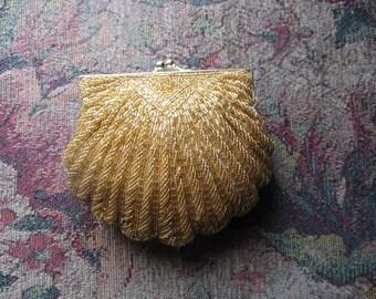 La Regale Hand Beaded Gold Evening Clutch Shoulder Bag, Shell Shape