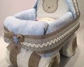Rustic Baby Stroller / Carriage Diaper Cake  - BLUE