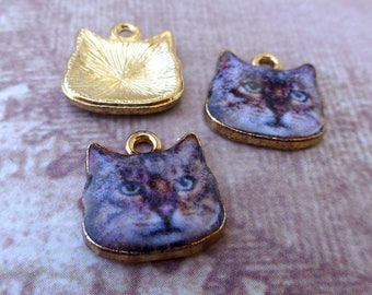 free shipping in UK - Pack of 5 Brown Cat Charms Pendants