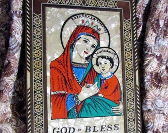 Beautiful Vintage Madonna and Child Religious Wall PLAGUE Marquetry and Mother of Pearl