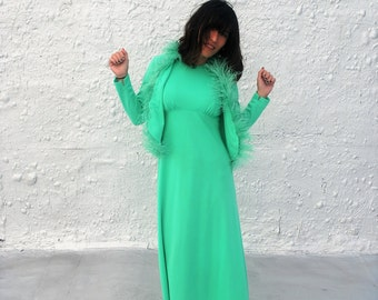 ON SALE Vintage 1970s Disc Mint Green Maxi Dress with Matching Marabou Feather Jacket M/L