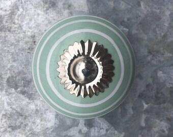 Sea Foam Green Striped Ceramic Drawer Knobs - Cabinet Knobs  (CK09)