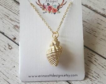 Gold Seashell Charm Pendant Necklace, Great Teacher Gift