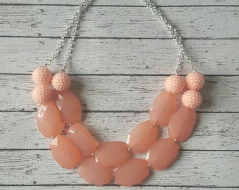 Peach Rhinestone Chunky Statement Bib Necklace...Purchase 3 or more get 10% off
