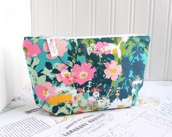 Pink and Teal Floral Cosmetic Bag Makeup Bag Floral Zipper Pouch Organizer Colorful Modern Print