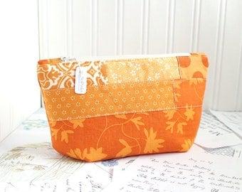 Cute Bag Orange Scrappy Cosmetic Bag Makeup Bag Orange Floral Patchwork Zipper Pouch Organizer