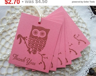 SALE Thank You Owl Tags Pink Set of 8