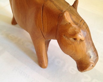 Carved Wooden Wild Animals Gazelle and Hippo