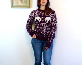 Spring SALE 25% Vintage 50s Ski Sweater Shetland Wool Pullover Maroon Red White Stags B ALTMAN Handknit Snowflake Print 60s 1950s Knit Holid