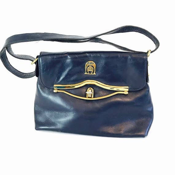 Vintage 70s Etienne Aigner Handmade Leather Handbag Navy Blue Shoulder Bag Adjustable Strap Top Handle Brass Snap Flap Satchel 1970s Purse