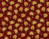NEW Bear Paws Quilt Craft Fabric One Yard Cut of Bee Skeps on Red