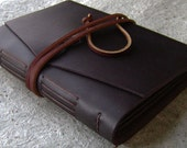 Slim leather photo album, for 4-inch by 6-inch photos, old world album, (2449)
