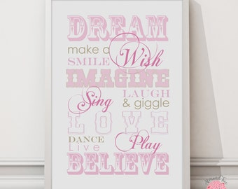 Hopes for your girl wall art print