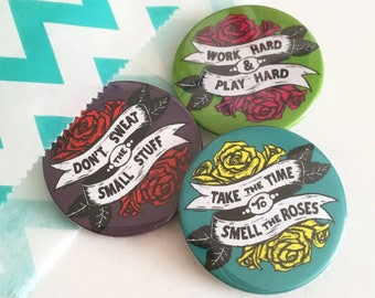 Pack of 3 or 6 Tattoo Style Rose badges / buttons, slogan badges, positive badges, lapel pin, Pin, party bag fillers, party favours,