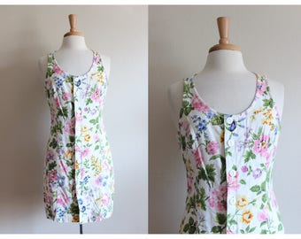 Vintage White Floral Linen Esprit Dress