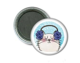 "1"" Magnet/Earmuffs Cat"