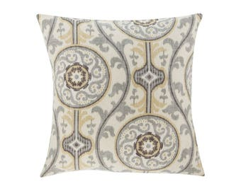 NEUTRAL Gold Pillow Cover.Decorator Pillow Cover.Home Decor.Large Print. OH Suzani METAL. Cushions. Cushion.Pillow. Premier Prints