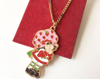 NOS Vintage Strawberry Shortcake Necklace Pendant and Chain 1980 Gold