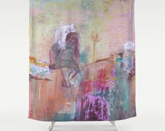 Shower Curtain Art, decor home, from painting, girl, bathroom decor, polyester curtain, colourful, spanish art