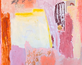 Fine Art Giclee Print pink orange lilac, birds print, modern wall art print by Ana Gonzalez