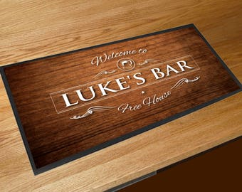 Personalised wood effect Pint bar sign runner pubs clubs & cocktail bars **ANY NAME**