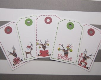 Christmas Gift Tags Holiday Reindeer Favor Tags Set of 10 - T555