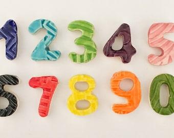 "Mosaic Number Tiles - 3/4"" Ceramic Numbers"