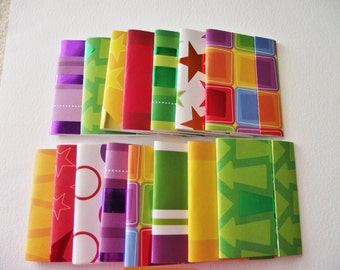 8 - Matchbook Notepads - Multi Color Patterns- 12 - 3 x 4 inch fold over sheets -