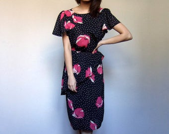 Vintage Polka Dot Dress 80s Floral Dress Black White Dress Pink Floral Print Dress Peplum Dress Vintage Sheer Dress  - Medium to Large M L