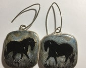 reserved for Isabelle L. Horse Jewelry: The New Filly Earrings . Black, Silver, Gold and Blue 4238