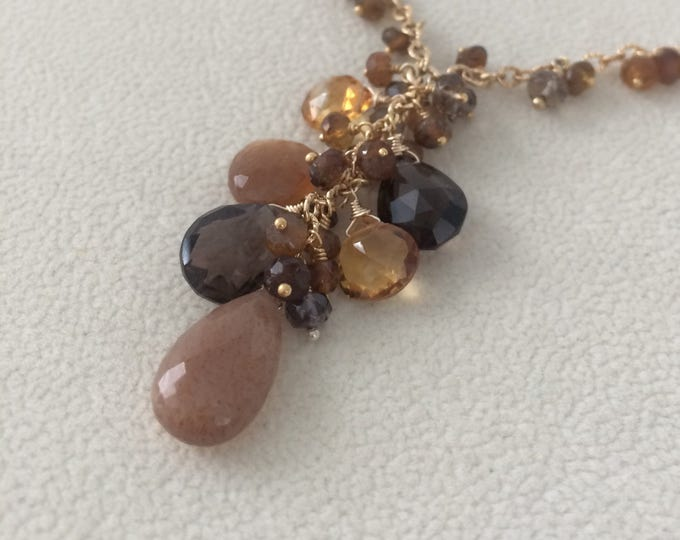 Semiprecious Gemstone Pendant Necklace in Gold Vermeil with Smoky Quartz, Golden Moonstone, Madeira Citrine, Topaz, Peach Zircon, Tourmaline
