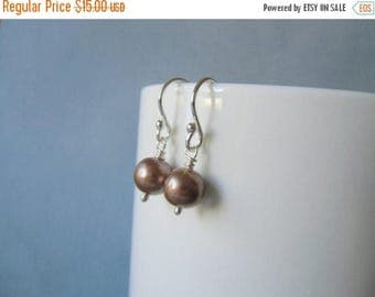CLOSING SALE Tan pearl 8mm / 0.31'' in,  wire wrapped, silver dangle earrings.