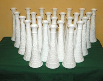 "Milk Glass Vases, 12 Matching Vintage 9"" Large Flower Vases, More Available for Weddings, Showers, Events, Parties,"