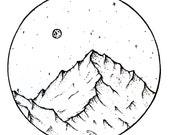 PRE-ORDER Vinyl Sticker . Mountain and Moon . Hiking Gear Laptop Sticker Camping Sticker Car Decal Bumper Sticker Mountain Outdoors MacBook