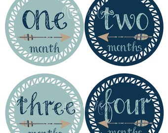 Baby Boy Photo Prop / Tribal Monthly Baby Boy Stickers, Baby Boy Month Stickers, Tribal Nursery, Arrows