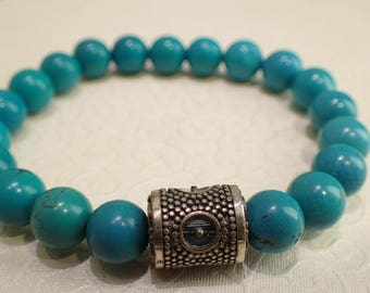 Turquoise with unique Sterling Silver Bracelet / Turquoise with Citrine Bracelet