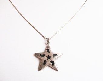 Silver star pendant: Simple hallmarked sterling silver star and moon pendant necklace, witchy hollow star pendant, silver pendant