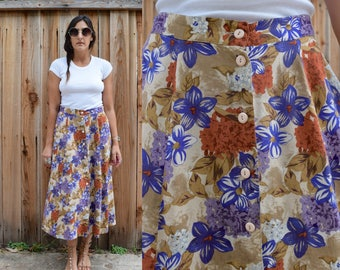 Vintage 80s FLORAL High Waist Boho Skirt M