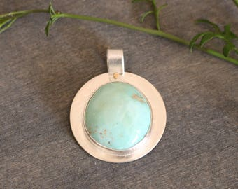 Kingman Turquoise Pendant Natural American Aqua Blue Turquoise Sterling Silver Rustic Contemporary Southwestern Necklace Mixed Metal Chain