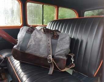 The Port Gamble - Waxed Canvas and Horween Leather Carryall Bag with Adjustable Shoulder Strap
