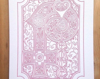 PEACE - illuminated manuscript illustration letterpress print