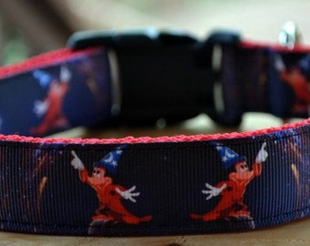 Fantasia Mickey dog collar & or leash on red webbing
