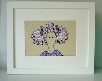 Meet Isabella Framed Freehand Embroidered by Lillyblossom with Frenchknots, beads and sequins