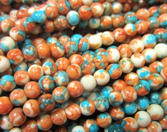 4mm Jade beads russet red brown blue earth tone beads 60 gemstone beads opaque dyed beads 219-4mm-06 (A1A3),