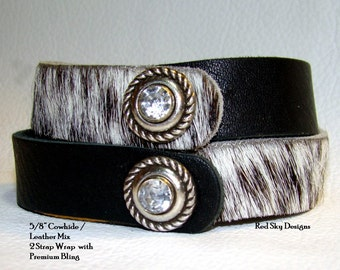 NEW-Set of 4 (8 total sections)  Cowhide Leather Endless Wraps - Leather Supply - Leather Wrap - Leather Bracelets - Leather Cowhide Jewelry
