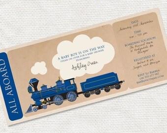 baby shower ticket invitation steam train - diy printable file - boarding pass boys birthday party customised blue, boys baby shower invite