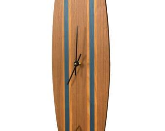 Wood Classic Surfboard Wall Clock - Blue Stripe