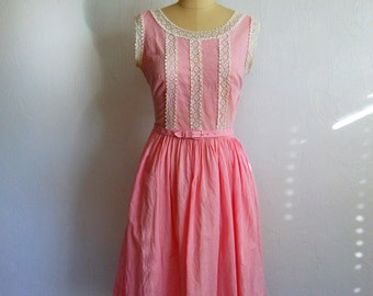60s cotton PINK GINGHAM day dress size small medium petite