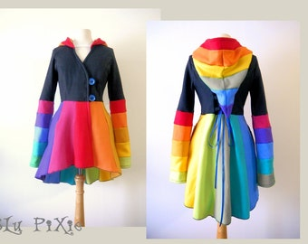 Hi Low Women's Spring Rainbow Carosel Jacket, Gay Pride Gypsy Hippie Fleece Hoodie, Fitted Cinched Waist Clothing