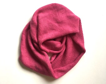 Fuschia Cashmere Blend Infinity Scarf / naturally hand dyed and handmade cashmere / angora / wool blend